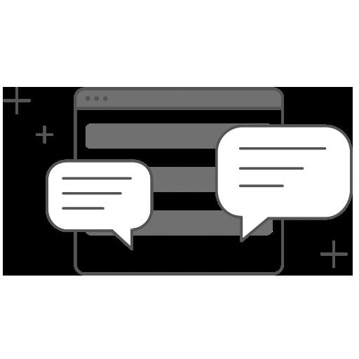 ikona - w centrum kształt tabletu i na jego tle dymki służace komunikacji