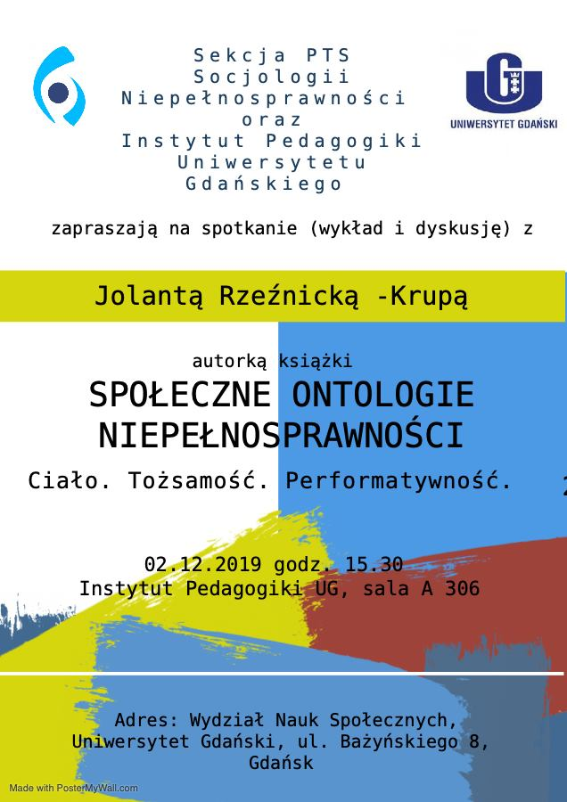 plakat zapraszający na spotkanie autorskie z Jolatą Rzeźnicką - Krupą. Na plakacie na tle utrzymanym w kolorystyce niebiesko- żółto-czerwonej przypomnijącej maźnięcia grubym pedzlem malarskim znajdują sie informacje o wydarzeniu.